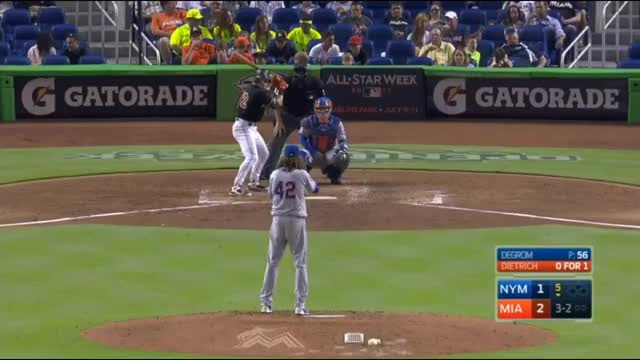 Watch Game 12 - (04/15/2017) New York Mets @ Miami Marlins | Jacob deGrom GIF on Gfycat. Discover more mets, new york, new york mets GIFs on Gfycat
