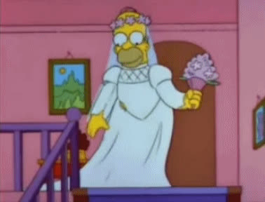 blushing bride, bouquet, bride, flowers, here comes the bride, homer simpson, the simpsons, wedding, Homer Simpson - Bridal Bouquet GIFs