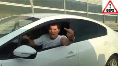Road Rage Fail- Driver In A KIA Takes Out His Phone To Get Even But It Doesn't Go As Planned! GIFs