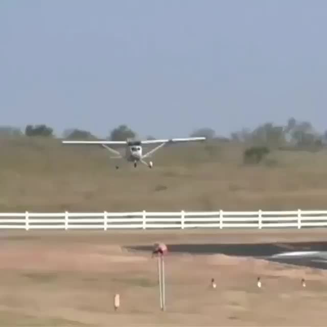 airplane, plane, Cessna clips a car as it lands GIFs