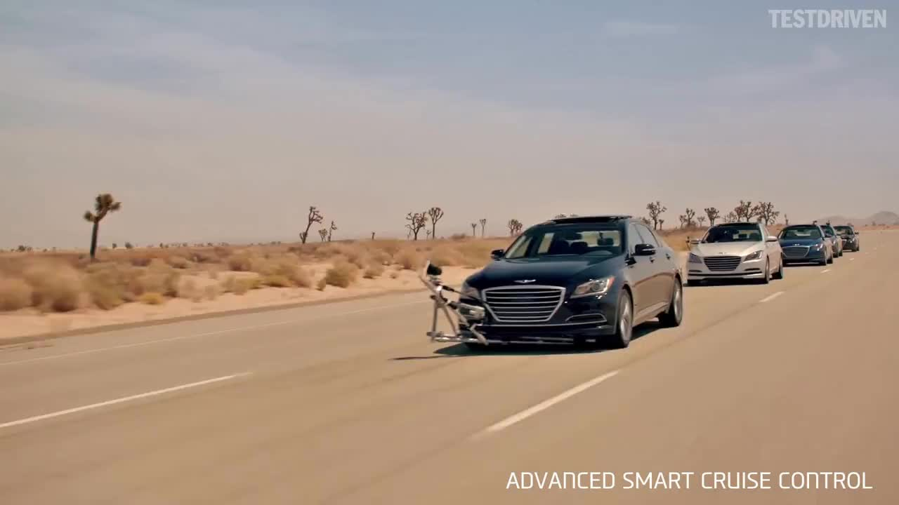 2014, Cruise, Genesis, Hyundai, Keep, assist, barking, control, emergency, hd, keeping, lane, stunt, Hyundai - The Empty Car Convoy GIFs