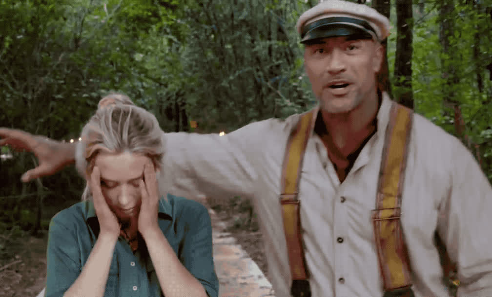 awkward, blunt, cruise, disappointed, dwayne, emily, god, headache, hugs, johnson, jungle, kiss, kisses, my, no, oh, omg, sorry, stand, way, Dwayne Johnson and Emily Blunt - Jungle Cruise GIFs