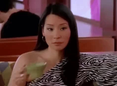 lucy liu, none of my business, shade, sip the tea, tea, Lucy Liu Tea GIFs