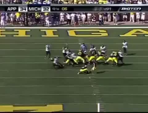 Watch and share Appalachian State Vs Michigan 2007 - Blocked Field Goal GIFs on Gfycat