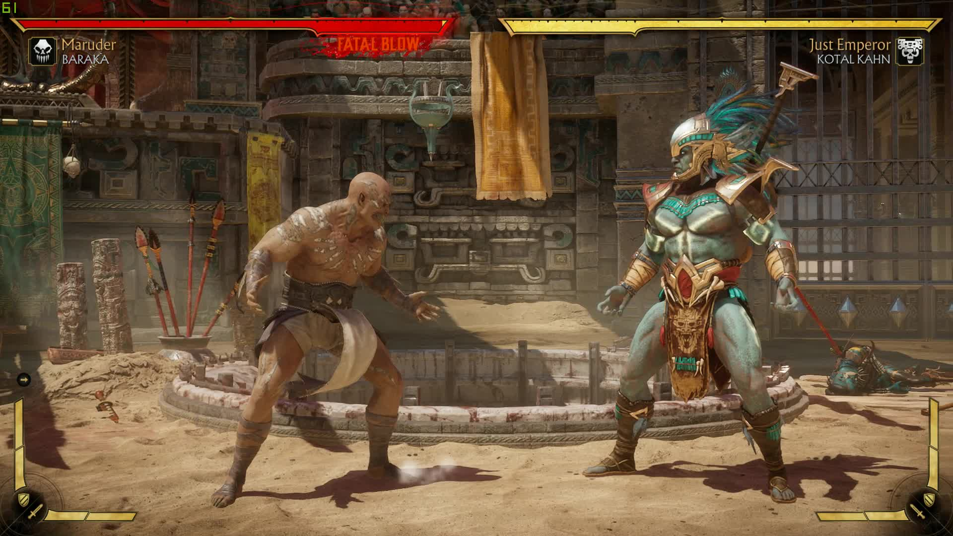 Mortal Kombat 11 Baraka Fatal Blow 60 FPS Test