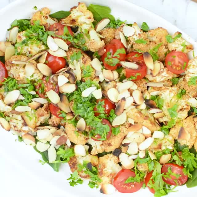 Watch and share VEGAN Roasted Cauliflower Salad With Lemon Tahini Dressing... I'm Craving Thi... GIFs on Gfycat