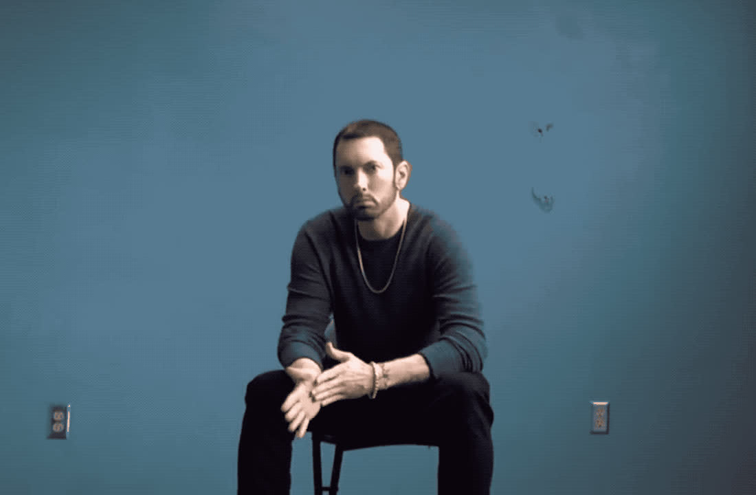 angry, chair, eminem, impatient, mad, marshall mathers, new, pissed, river, serious, sit, song, wait, waiting, Eminem - River GIFs