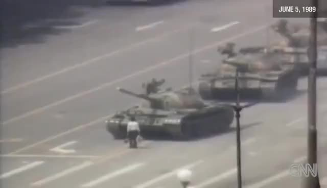 Watch and share 1989 Raw Video: Man Vs. Chinese Tank Tiananmen Square GIFs on Gfycat