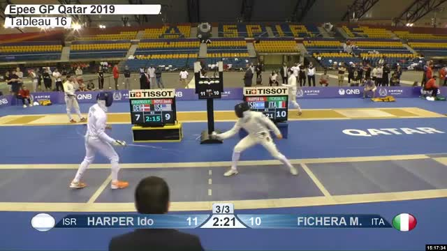 Watch HARPER Ido r 11 GIF by Scott Dubinsky (@fencingdatabase) on Gfycat. Discover more gender:, leftname: HARPER Ido r, leftscore: 11, rightname: FICHERA M, rightscore: 11, time: 00024719, touch: right, tournament: doha2019, weapon: epee GIFs on Gfycat