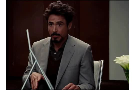 Watch and share Swinging-sticks-tony-stark animated stickers on Gfycat