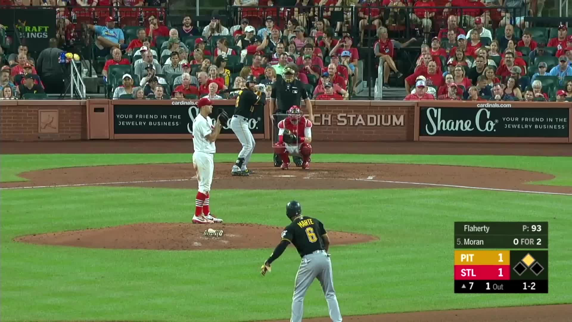 baseball, cardinals, pirates, pittsburgh, pittsburgh pirates, st. louis, st.louis cardinals, Colin Moran hits himself in head with bat after Jack Flaherty strikes him out. GIFs