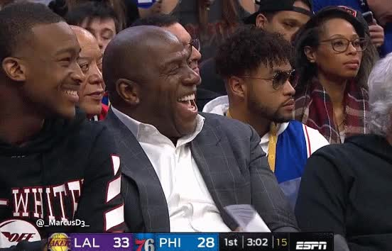 Watch and share Magic Johnson Laughing Reaction GIFs by MarcusD on Gfycat