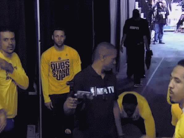 Cork Gaines - During the #Warriors pre-game shimmy-off, KD squeezed Curry's nipple and it was all cool. GIFs