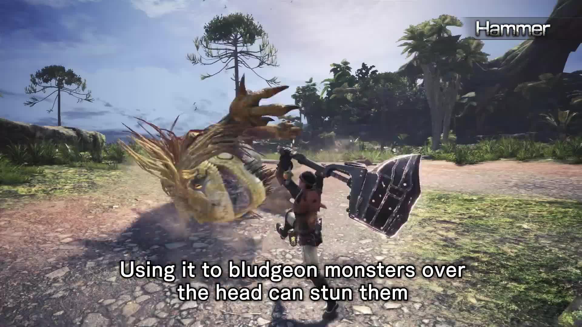 action, capcom, hunting, mh, monster hunter, multiplayer, rpg, Monster Hunter: World - Hammer Overview GIFs