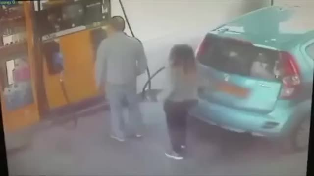 Watch and share Man At A Gas Station Refuses To Give Woman A Cigarette, So She Sets His Car On Fire. GIFs on Gfycat