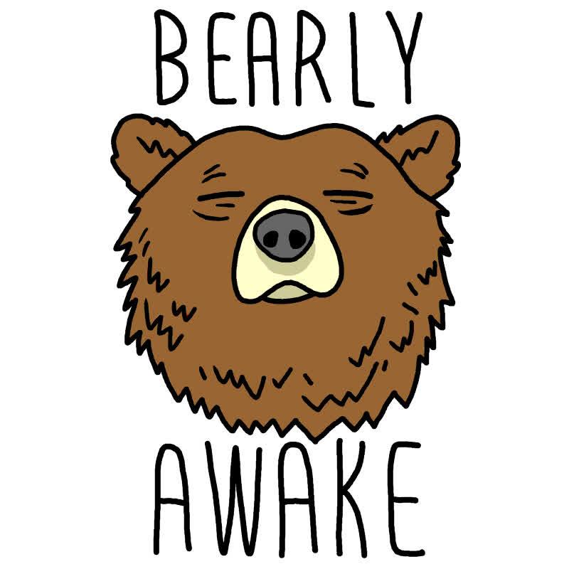 exhausted, look human, out of it, sleep, sleepy, tired, wake up, Bearly Awake GIFs