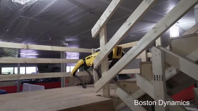 Watch SpotMini Autonomous Navigation GIF on Gfycat. Discover more Boston Dynamics, Dynamic Robot, Legged Locomotion, Quadruped robot, mobile robot GIFs on Gfycat