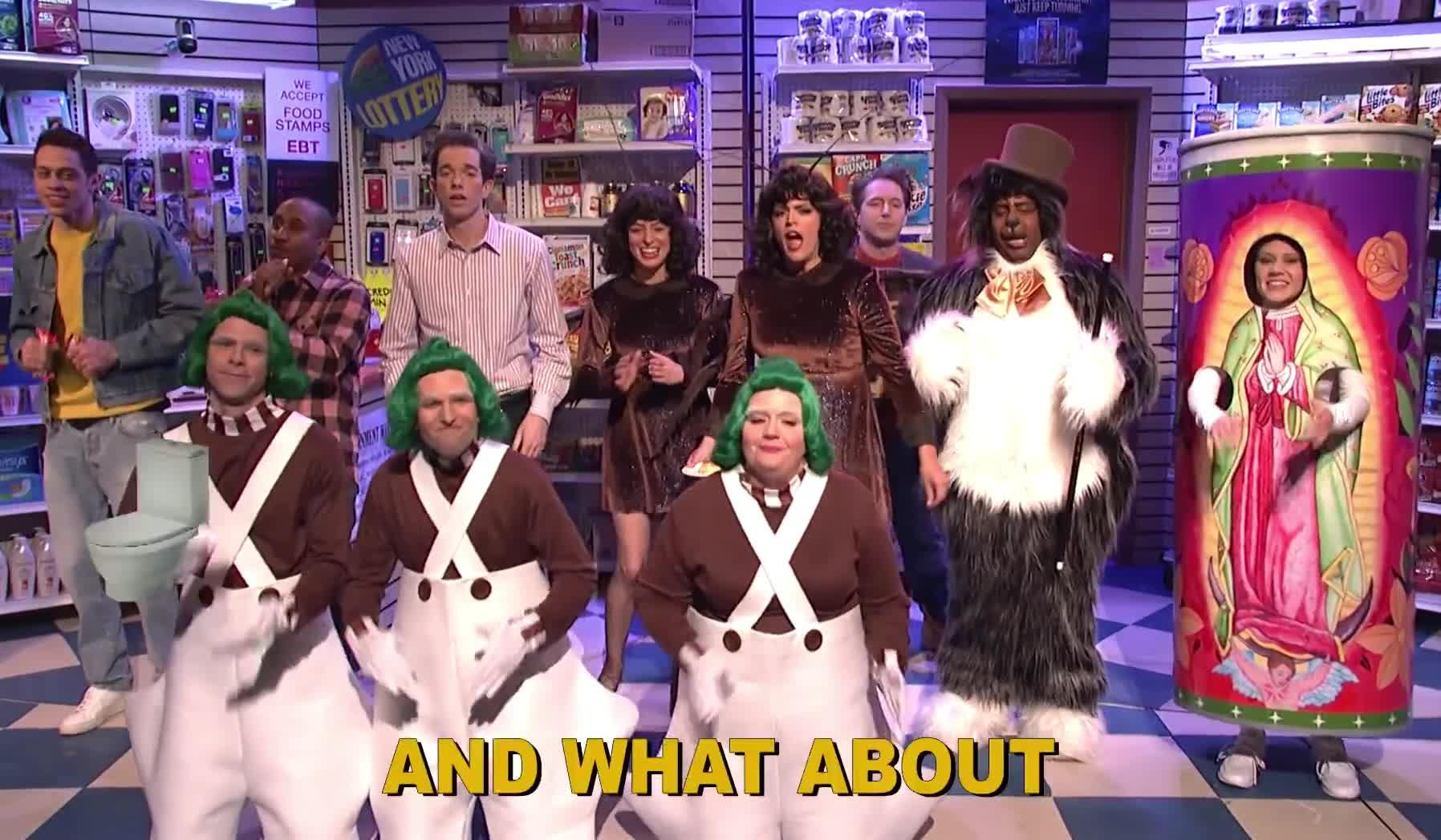 about, bathroom, bodega, cockroach, dirty, epic, flan, funny, ha, haha, hilarious, live, lol, night, saturday, sing, snl, song, toilet, what, Bodega Bathroom - SNL GIFs