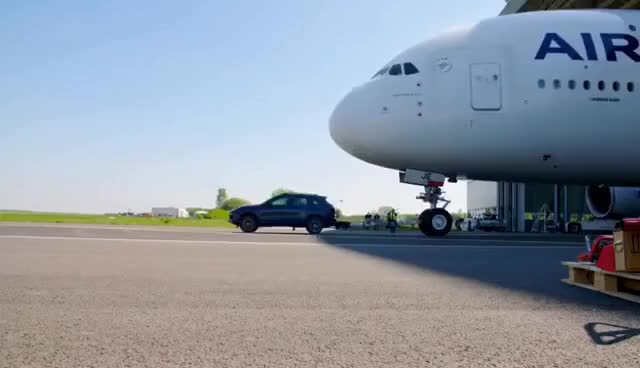 Watch and share 2017 PORSCHE CAYENNE TURBO S TOWING AN...AIRBUS A380 (285 Ton) L Guinness World Records Title GIFs on Gfycat