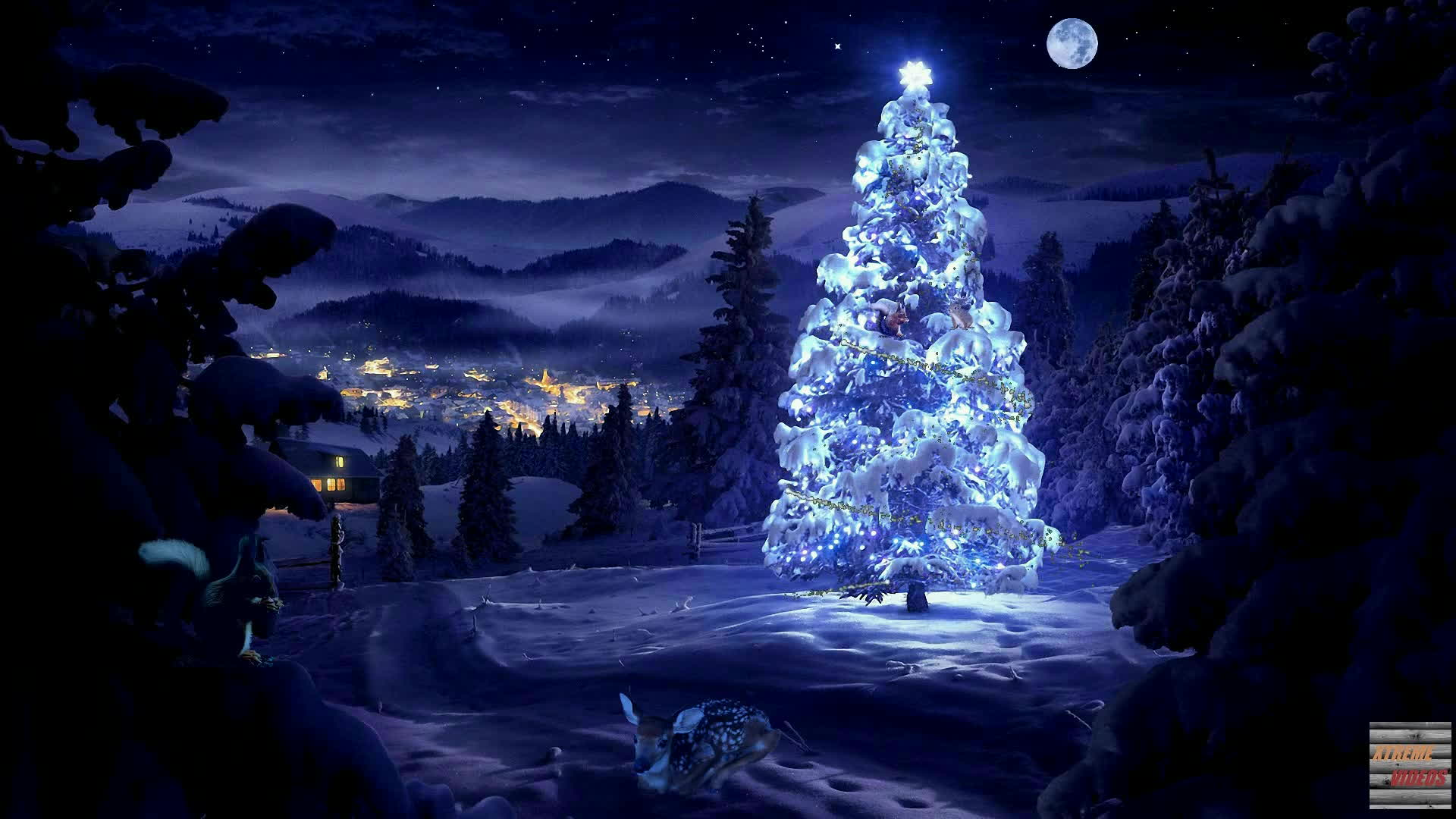 Beautiful Christmas Tree With Magic Lights Forest Animals Snow