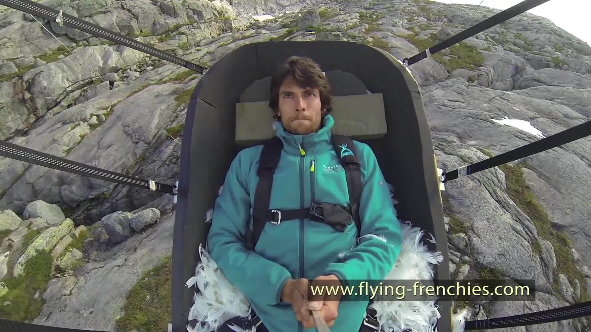 BASE Jumping (Sport), flying frenchies, holdmyredbull, OFFICIAL : The Flying Frenchies catapult to base jump, angry bird style GIFs