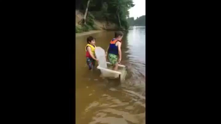 hitmanimals, Dog tackles boy in water GIFs