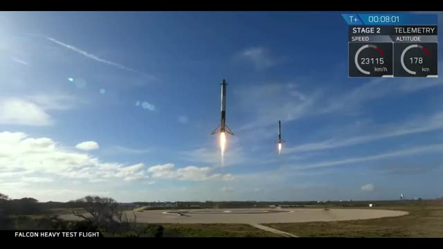 Watch Falcon Heavy first landing GIF on Gfycat. Discover more Falcon Heavy, SciNews, Science & Technology, SpaceX, Tesla Roadster, first launch, maiden flight GIFs on Gfycat