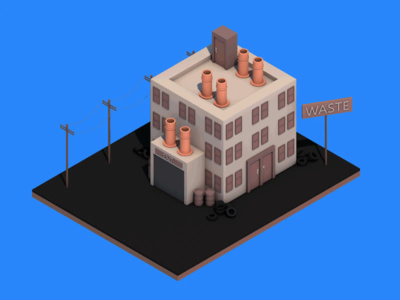 Quick animation of a isometric waste factory. GIFs