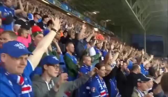 Watch and share Euro 2016 Viking Clapping Of Iceland Fans GIFs on Gfycat