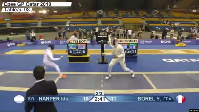 Watch HARPER Ido 11 GIF by Scott Dubinsky (@fencingdatabase) on Gfycat. Discover more gender:, leftname: HARPER Ido, leftscore: 11, rightname: BOREL Y, rightscore: 12, time: 00029585, touch: double, tournament: doha2019, weapon: epee GIFs on Gfycat