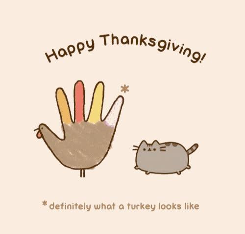 cat, cats, cute, dinner, giving, holiday, national, pusheen, pusheen cat, pusheen the cat, thank, thanks, thanksgiving, turkey, Thanksgiving with Pusheen GIFs