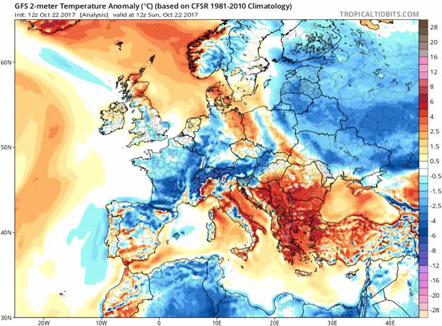 Watch and share GFS - 2-meter Temperature Anomaly - Europe GIFs by The Watchers on Gfycat
