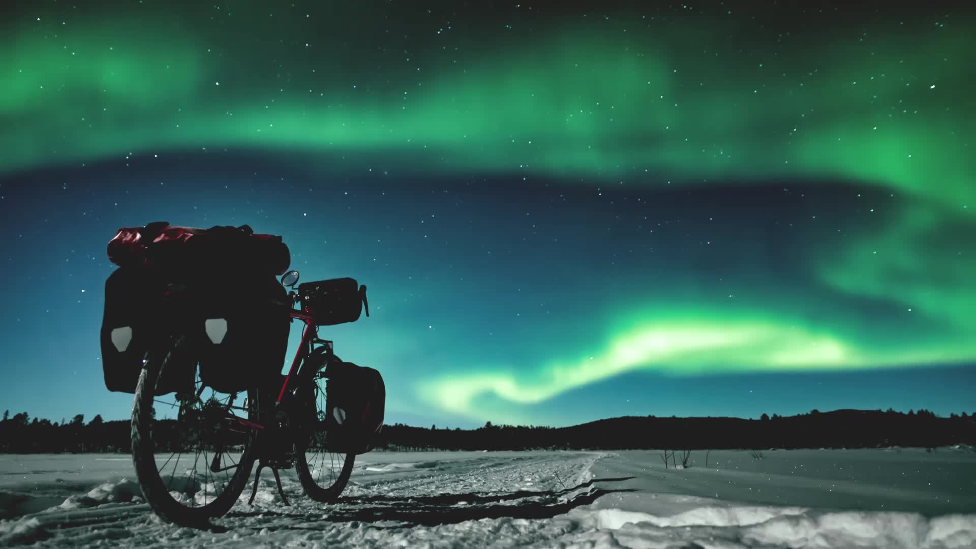 aurora borealis, bicycle, gifs, Winter cycling in Finland GIFs