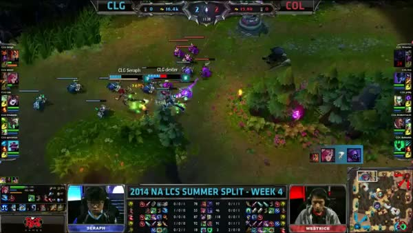 CLG (Doublelift Twitch) VS COL (Westrice Jax) Highlights - 2014 NA LCS Summer W4D1 (reddit)