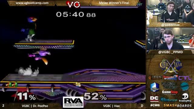 Watch CW6 - VGBC | Hax (Fox) Vs. VGBC | Dr PeePee (Falco) SSBM Winners Finals GIF by @jackglaser on Gfycat. Discover more rva, smash, smashgifs GIFs on Gfycat