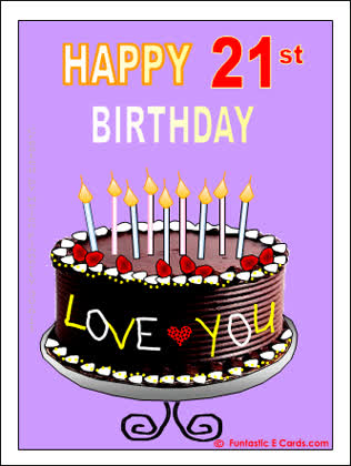 Age Specific Bday Happy 21st Card With Cake And Love You NoteANIMATED GIF