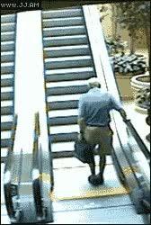 Old man and a escalator. : nononono GIFs