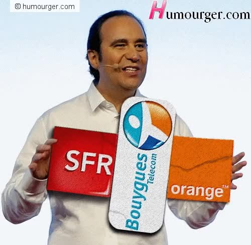 Watch and share GIF Humour Xavier Niel Qui Fracasse Ses Concurrents SFR, Orange & Bouygues Telecom. GIFS Animés Rigolos Humourger 2012 (500 X 488) GIFs on Gfycat