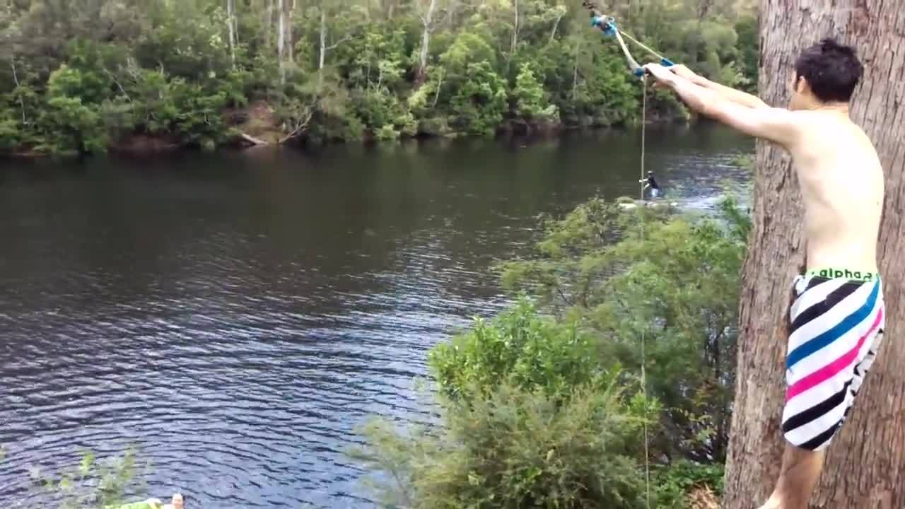 whatcouldgowrong, Let me swing off this rope and land on the paddleboard GIFs