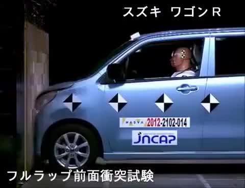 Watch and share Crash Test 2012 - Suzuki Wagon R / Mazda Flair ( Full Frontal) JNCAP GIFs on Gfycat