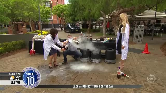 Watch and share Australian TV Host Almost Killed By Exploding Coke Bottle (720p 30fps H264-192kbit AAC) GIFs by BurntJoint on Gfycat