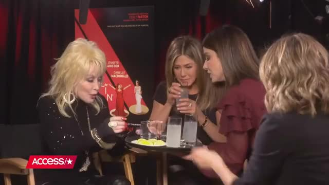 Watch Sandra Bullock Crashes Jennifer Aniston & Dolly Parton's 'Dumplin' Interview & Brings Tequila! GIF on Gfycat. Discover more Hollywood, access, celebrity, dumplin, entertainment, gossip, interviews, jenniferaniston, movies, netflix, sandrabullock GIFs on Gfycat