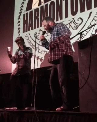 Harmontown, harmontown, Dan rapping and dancing like a drunk baby (with Chaim from the SF show) (reddit) GIFs