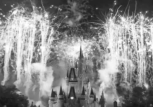 Watch this GIF on Gfycat. Discover more beautiful, black, black and white, castle, diney castle, disney, disney land, disneyland, firework, fireworks, gif, white GIFs on Gfycat