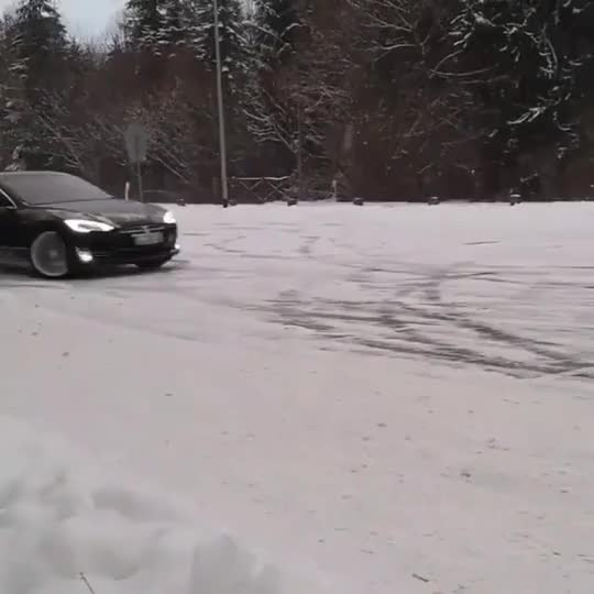 Watch and share Russian Tesla Model S Doing Donuts In The Snow GIFs on Gfycat