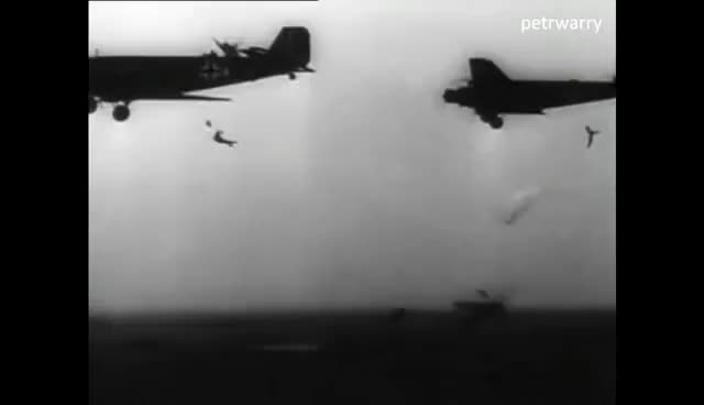 Watch WWII Fallschirmjäger - German Paratroopers jumping out of Ju52 Aircraft & Drei Lilien GIF on Gfycat. Discover more related GIFs on Gfycat