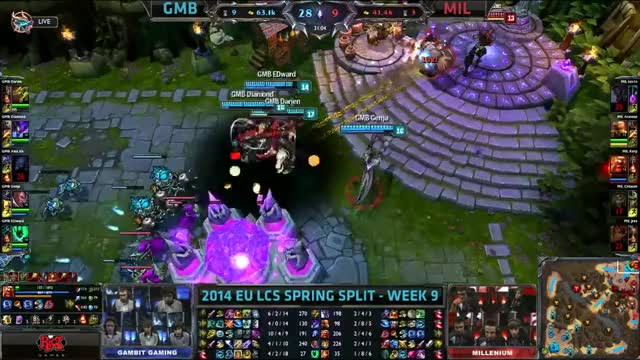 Gambit Gaming vs Millenium Week 9 EU LCS Spring Split 2014 Full Game