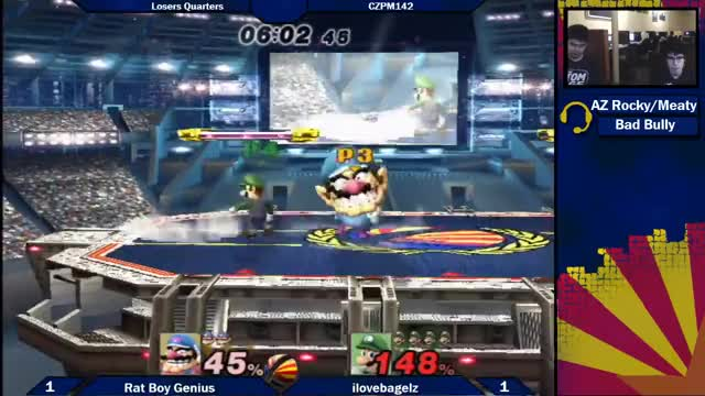Watch CZPM169: Rat Boy Genius (Wario) vs ilovebagelz (Luigi) Losers Quarters GIF on Gfycat. Discover more arizona, az, biweeklies, bros, brothers, melee, pm, project, projectm, smash GIFs on Gfycat