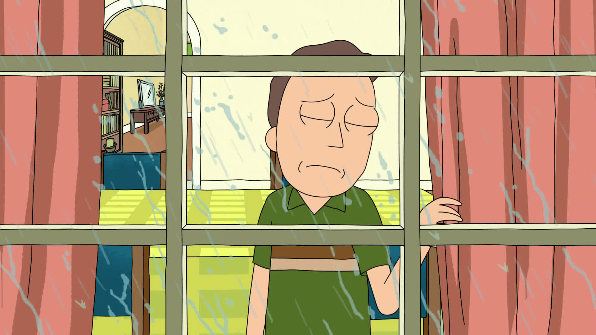 cinemagraph, depressed, jerry, loser, rain, rick and morty, sad, Rick and Morty - Sad Jerry GIFs