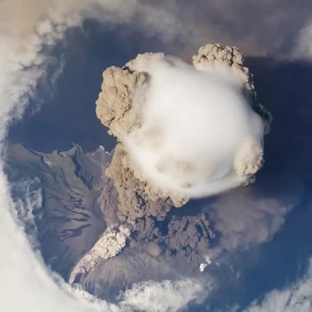 Watch and share 🔥 Volcanic Eruption Seen From Space Station 🔥 GIFs by notmyproblem on Gfycat